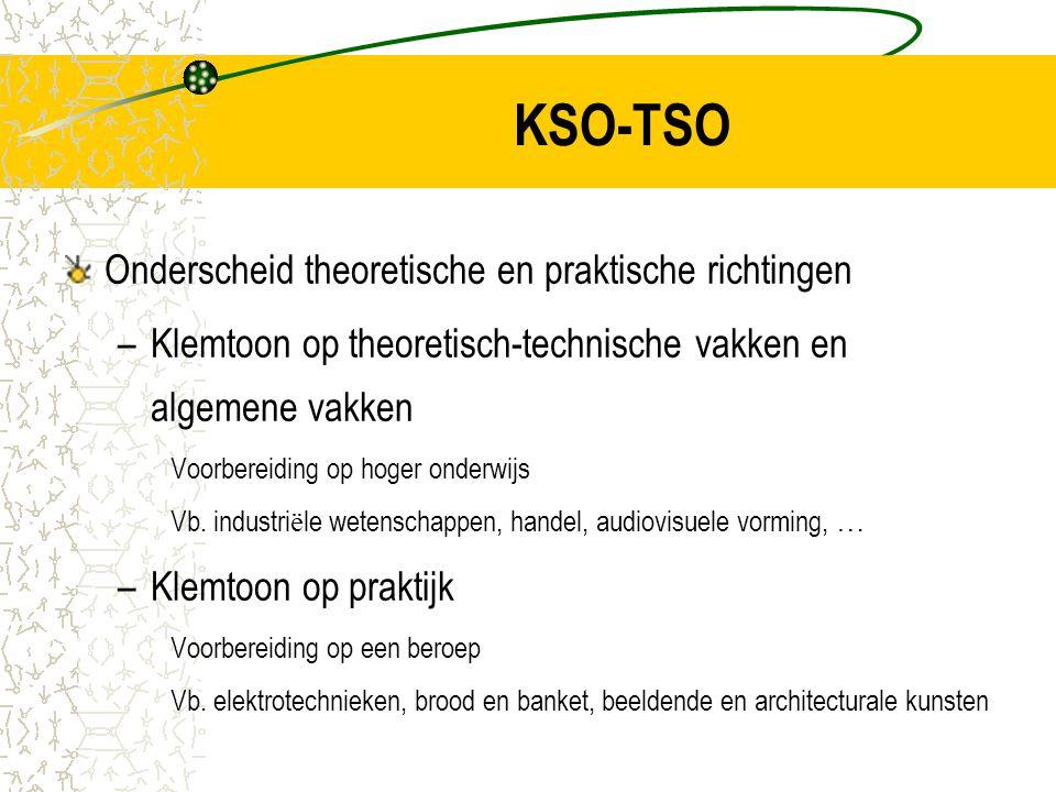 KSO-TSO Onderscheid theoretische en praktische richtingen –Klemtoon op theoretisch-technische vakken en algemene vakken Voorbereiding op hoger onderwijs Vb.