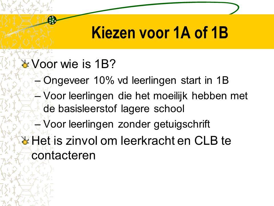 Kiezen voor 1A of 1B Voor wie is 1B.