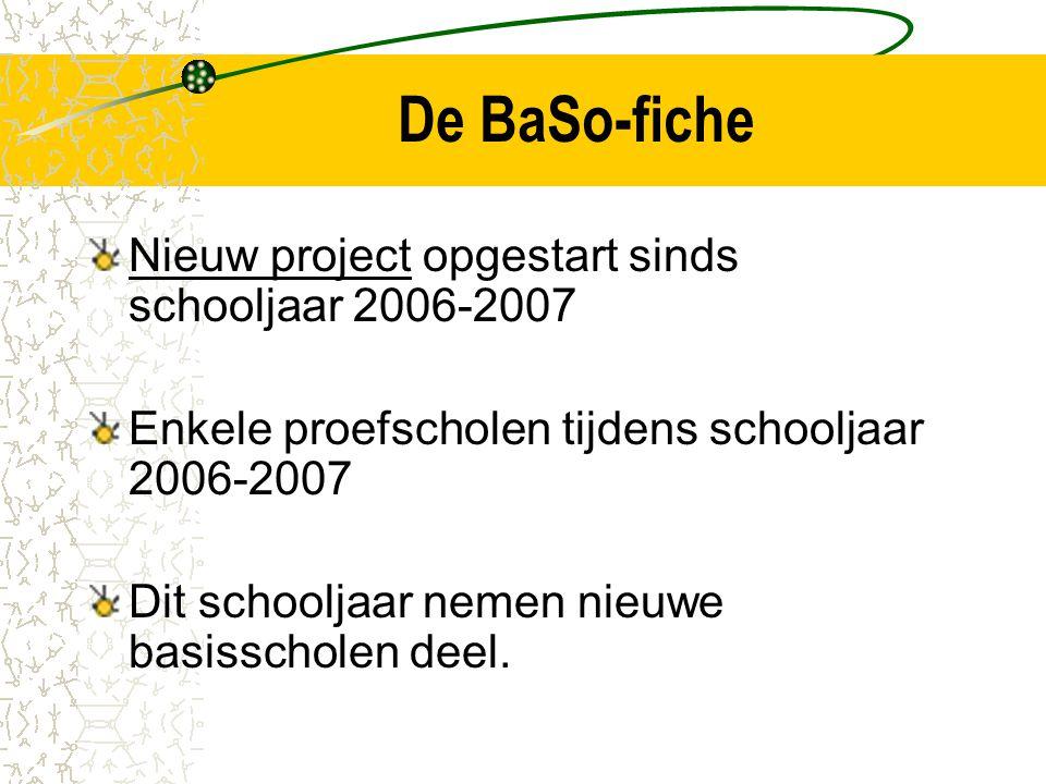 De BaSo-fiche Nieuw project opgestart sinds schooljaar 2006-2007 Enkele proefscholen tijdens schooljaar 2006-2007 Dit schooljaar nemen nieuwe basisscholen deel.