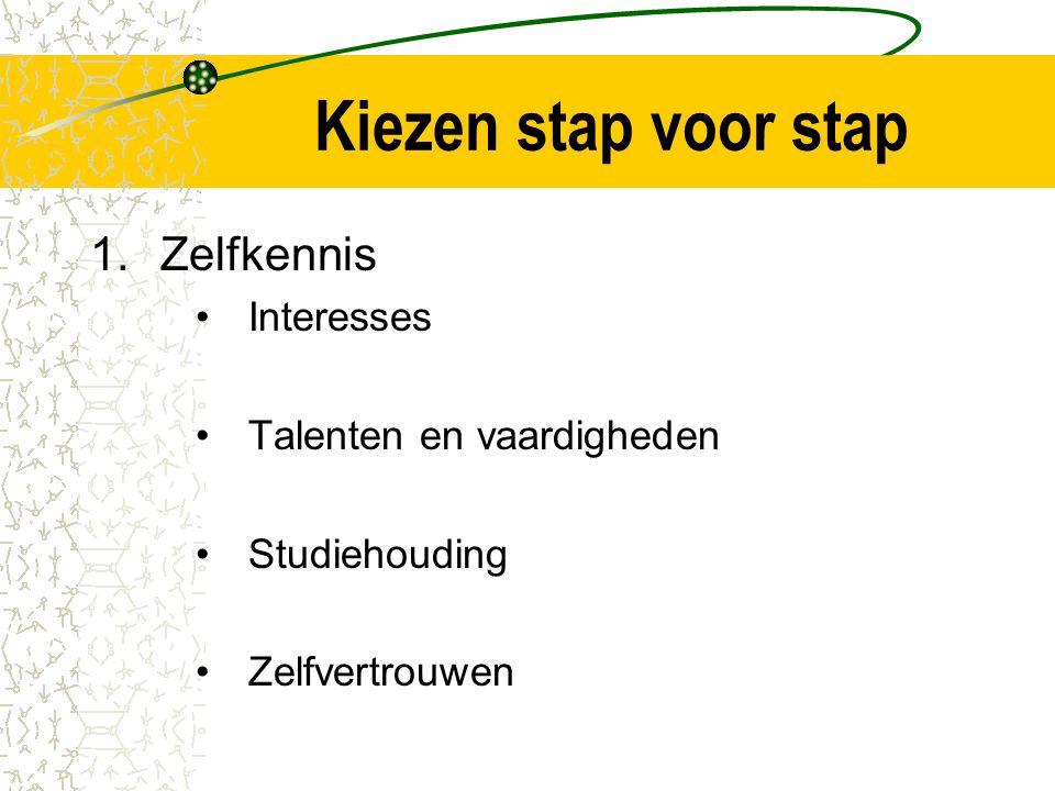 Kiezen stap voor stap 1.Zelfkennis Interesses Talenten en vaardigheden Studiehouding Zelfvertrouwen