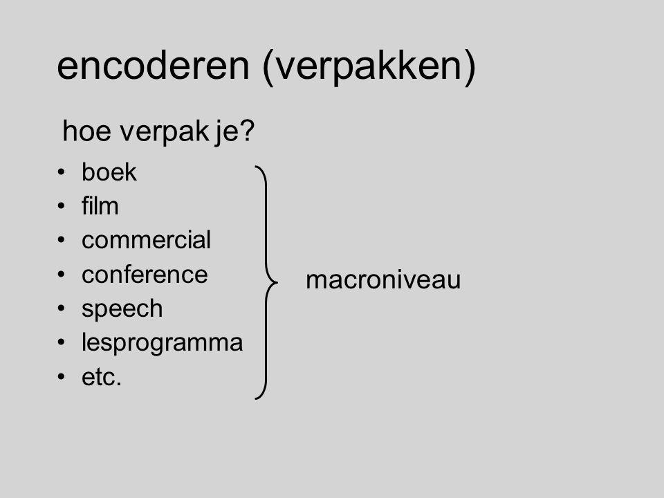encoderen (verpakken) boek film commercial conference speech lesprogramma etc. hoe verpak je? macroniveau