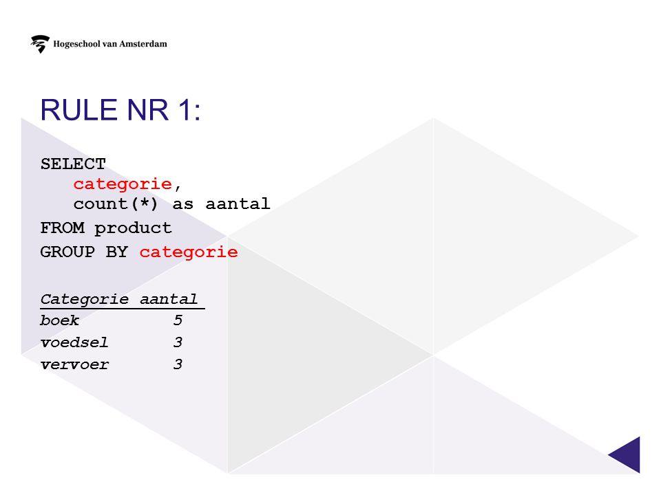 SELECTIE OP GROEPSNIVEAU SELECT categorie, count(*) as aantal FROM product GROUP BY categorie HAVING count(*) >4 Categorieaantal boek5