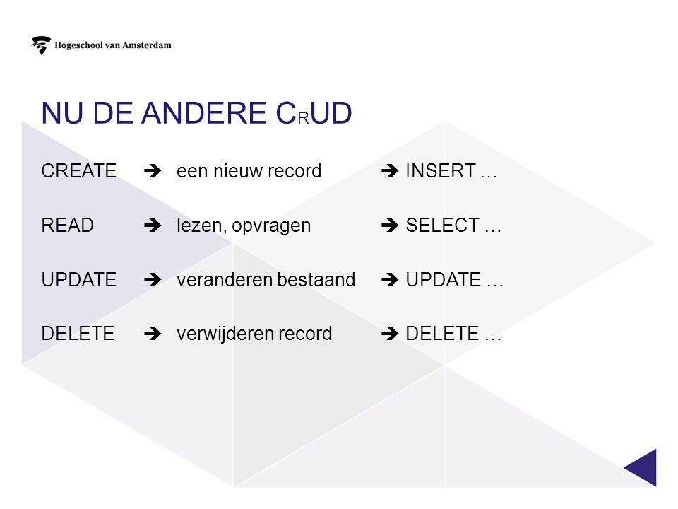 NU DE ANDERE C R UD CREATE  een nieuw record  INSERT … READ  lezen, opvragen  SELECT … UPDATE  veranderen bestaand  UPDATE … DELETE  verwijderen record  DELETE …