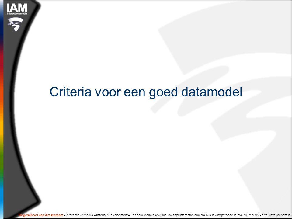 Hogeschool van Amsterdam - Interactieve Media – Internet Development – Jochem Meuwese - j.meuwese@interactievemedia.hva.nl - http://oege.ie.hva.nl/~meuwj/ - http://hva.jochem.nl Criteria voor een goed datamodel