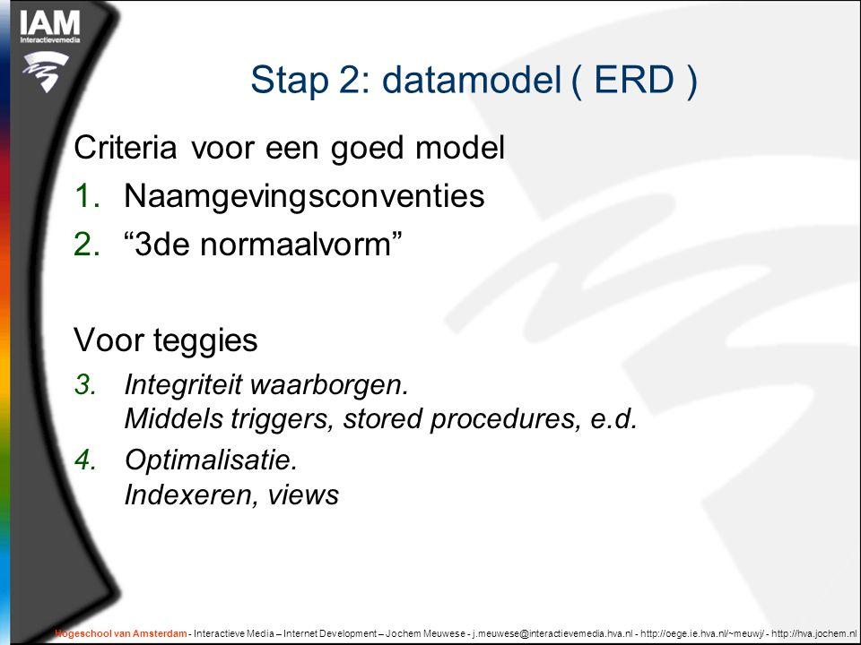 Hogeschool van Amsterdam - Interactieve Media – Internet Development – Jochem Meuwese - j.meuwese@interactievemedia.hva.nl - http://oege.ie.hva.nl/~meuwj/ - http://hva.jochem.nl Stap 2: datamodel ( ERD ) Criteria voor een goed model 1.Naamgevingsconventies 2. 3de normaalvorm Voor teggies 3.Integriteit waarborgen.