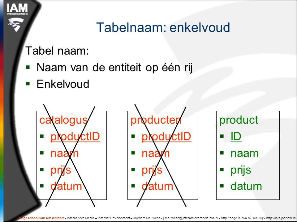 Hogeschool van Amsterdam - Interactieve Media – Internet Development – Jochem Meuwese - j.meuwese@interactievemedia.hva.nl - http://oege.ie.hva.nl/~meuwj/ - http://hva.jochem.nl Tabelnaam: enkelvoud Tabel naam:  Naam van de entiteit op één rij  Enkelvoud catalogus  productID  naam  prijs  datum product  ID  naam  prijs  datum producten  productID  naam  prijs  datum
