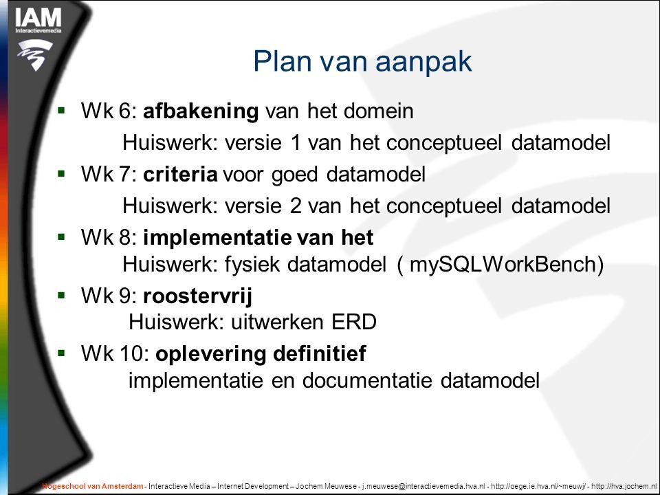 Hogeschool van Amsterdam - Interactieve Media – Internet Development – Jochem Meuwese - j.meuwese@interactievemedia.hva.nl - http://oege.ie.hva.nl/~meuwj/ - http://hva.jochem.nl Plan van aanpak  Wk 6: afbakening van het domein Huiswerk: versie 1 van het conceptueel datamodel  Wk 7: criteria voor goed datamodel Huiswerk: versie 2 van het conceptueel datamodel  Wk 8: implementatie van het Huiswerk: fysiek datamodel ( mySQLWorkBench)  Wk 9: roostervrij Huiswerk: uitwerken ERD  Wk 10: oplevering definitief implementatie en documentatie datamodel