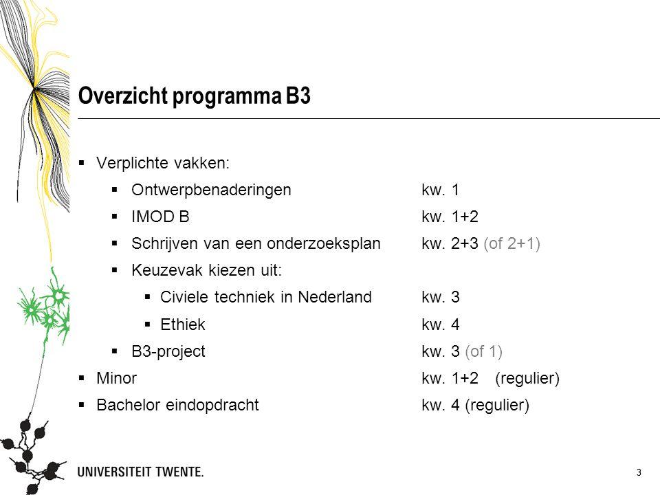 4 Ingangs- en doorstroomeisen  Vakken B3: Voor studenten van cohort 2012 geldt dat zij onderwijseenheden uit de B3 mogen volgen en/of afronden wanneer zij op 1-9-2014 minder dan 90 EC hebben behaald.