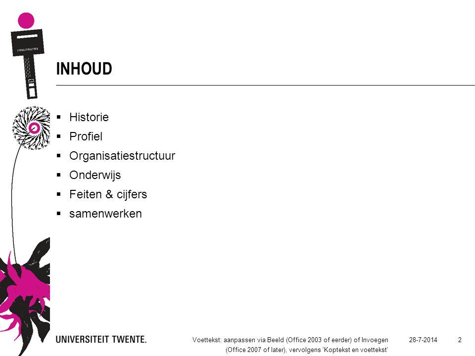 INHOUD  Historie  Profiel  Organisatiestructuur  Onderwijs  Feiten & cijfers  samenwerken 28-7-2014Voettekst: aanpassen via Beeld (Office 2003 of eerder) of Invoegen (Office 2007 of later), vervolgens Koptekst en voettekst 2