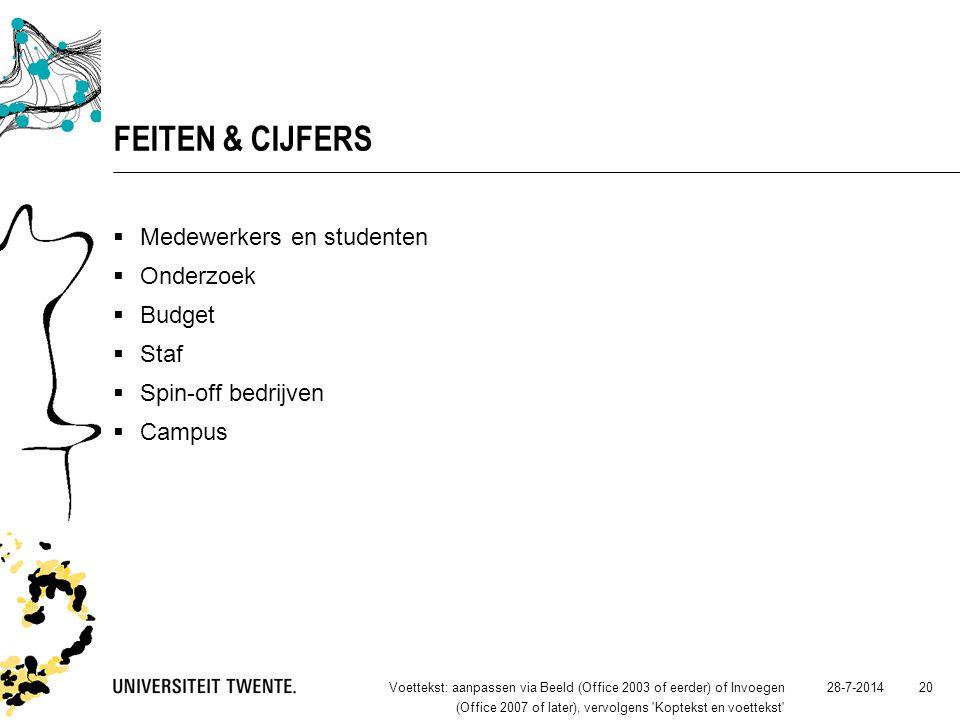 28-7-2014Voettekst: aanpassen via Beeld (Office 2003 of eerder) of Invoegen (Office 2007 of later), vervolgens Koptekst en voettekst 20 FEITEN & CIJFERS  Medewerkers en studenten  Onderzoek  Budget  Staf  Spin-off bedrijven  Campus