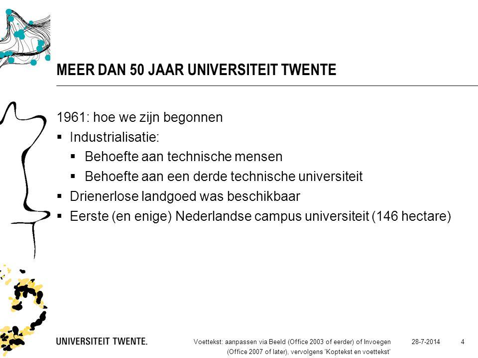 28-7-2014Voettekst: aanpassen via Beeld (Office 2003 of eerder) of Invoegen (Office 2007 of later), vervolgens Koptekst en voettekst 4 MEER DAN 50 JAAR UNIVERSITEIT TWENTE 1961: hoe we zijn begonnen  Industrialisatie:  Behoefte aan technische mensen  Behoefte aan een derde technische universiteit  Drienerlose landgoed was beschikbaar  Eerste (en enige) Nederlandse campus universiteit (146 hectare)