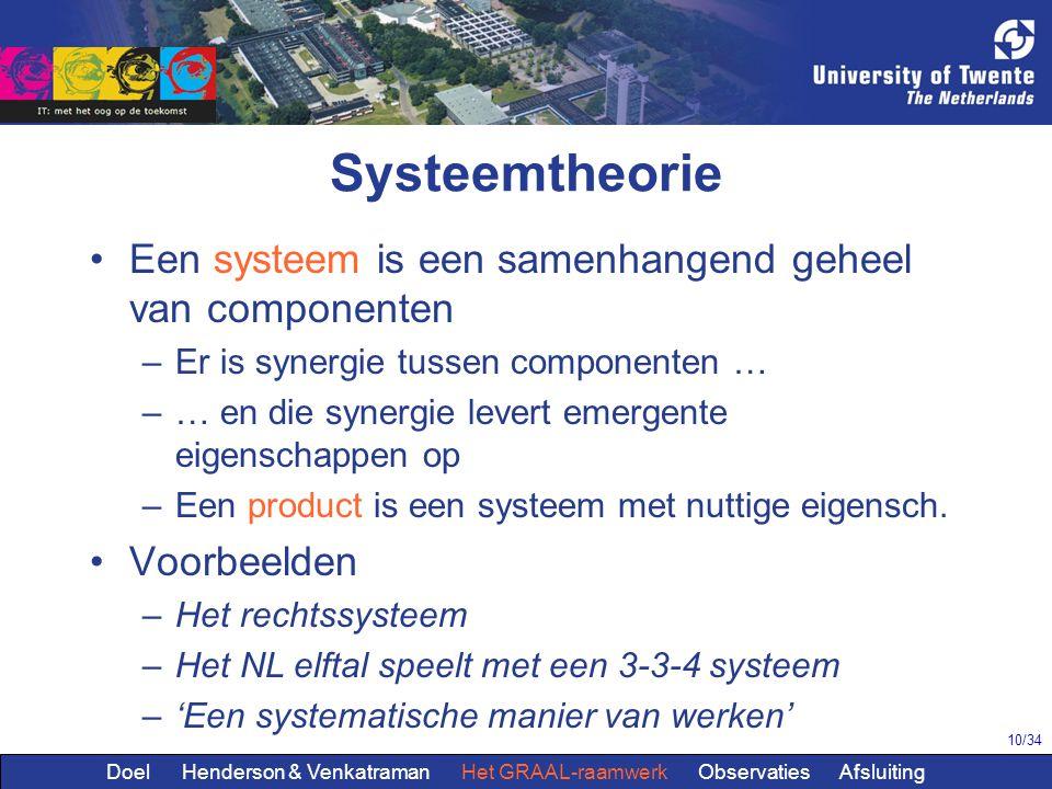 10/34 Systeemtheorie Een systeem is een samenhangend geheel van componenten –Er is synergie tussen componenten … –… en die synergie levert emergente eigenschappen op –Een product is een systeem met nuttige eigensch.
