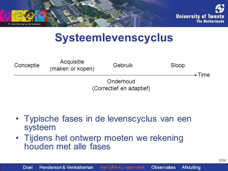 12/34 Systeemlevenscyclus Typische fases in de levenscyclus van een systeem Tijdens het ontwerp moeten we rekening houden met alle fases Conceptie Acq