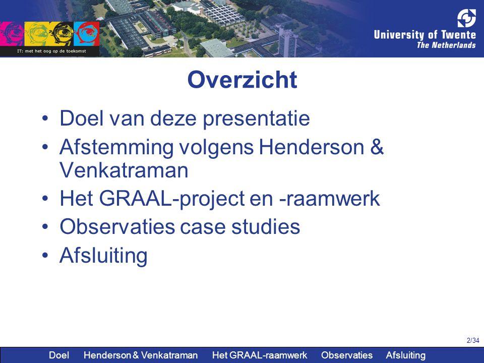 2/34 Overzicht Doel van deze presentatie Afstemming volgens Henderson & Venkatraman Het GRAAL-project en -raamwerk Observaties case studies Afsluiting