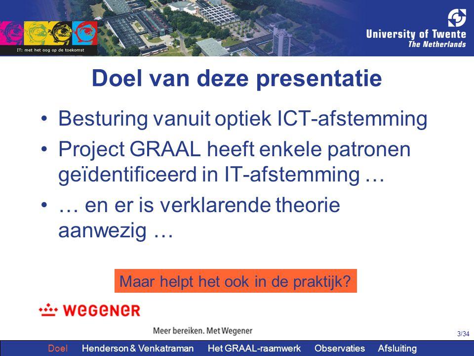 3/34 Doel van deze presentatie Besturing vanuit optiek ICT-afstemming Project GRAAL heeft enkele patronen geïdentificeerd in IT-afstemming … … en er is verklarende theorie aanwezig … Maar helpt het ook in de praktijk.