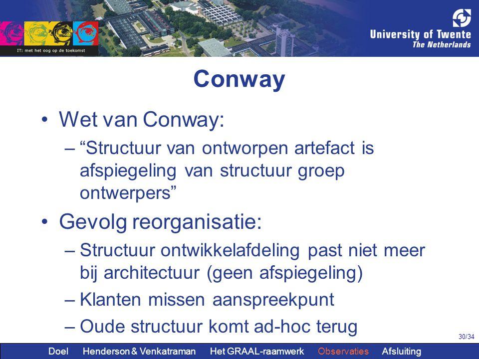 """30/34 Conway Wet van Conway: –""""Structuur van ontworpen artefact is afspiegeling van structuur groep ontwerpers"""" Gevolg reorganisatie: –Structuur ontwi"""