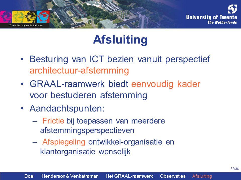 32/34 Afsluiting Besturing van ICT bezien vanuit perspectief architectuur-afstemming GRAAL-raamwerk biedt eenvoudig kader voor bestuderen afstemming A