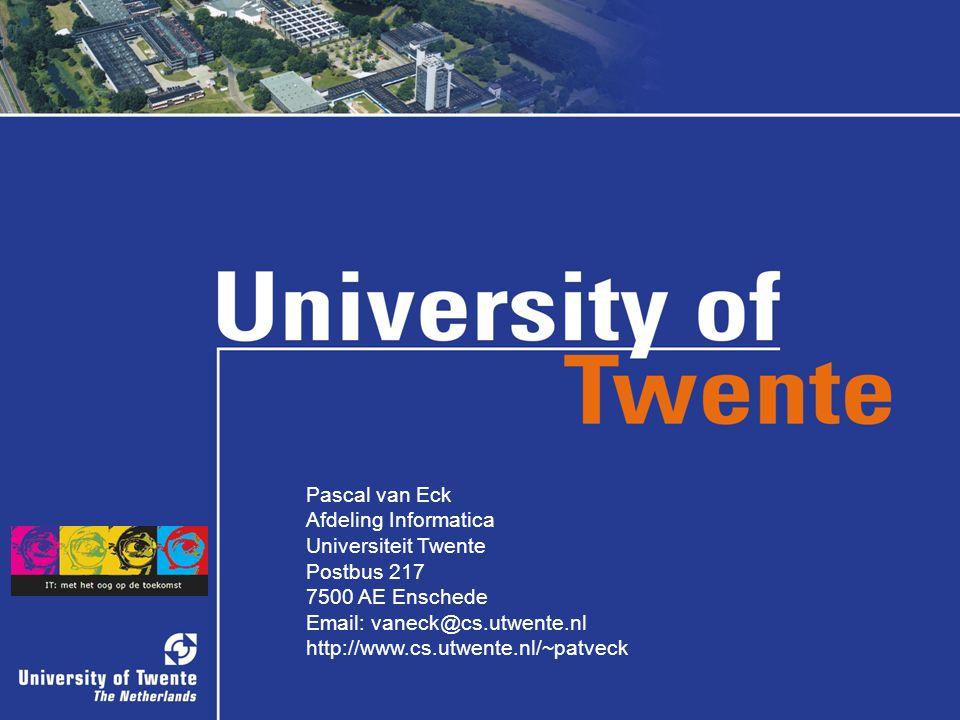 34/34 Pascal van Eck Afdeling Informatica Universiteit Twente Postbus 217 7500 AE Enschede Email: vaneck@cs.utwente.nl http://www.cs.utwente.nl/~patveck