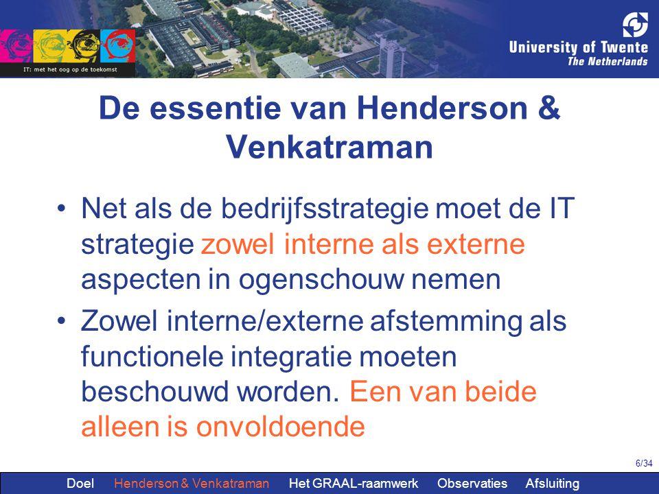 6/34 De essentie van Henderson & Venkatraman Net als de bedrijfsstrategie moet de IT strategie zowel interne als externe aspecten in ogenschouw nemen Zowel interne/externe afstemming als functionele integratie moeten beschouwd worden.