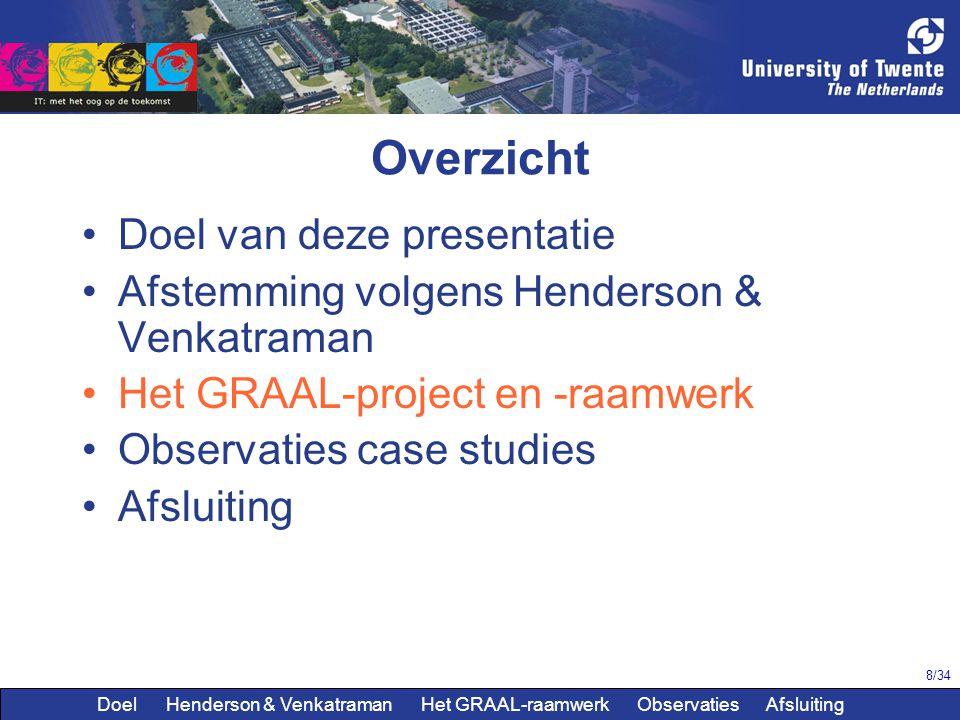 8/34 Overzicht Doel van deze presentatie Afstemming volgens Henderson & Venkatraman Het GRAAL-project en -raamwerk Observaties case studies Afsluiting