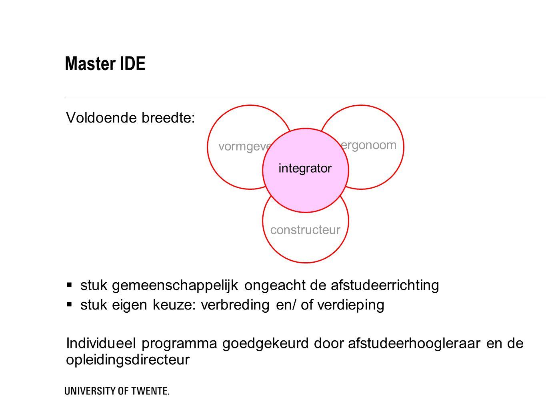 ergonoom Master IDE Voldoende breedte:  stuk gemeenschappelijk ongeacht de afstudeerrichting  stuk eigen keuze: verbreding en/ of verdieping Individueel programma goedgekeurd door afstudeerhoogleraar en de opleidingsdirecteur vormgever constructeur integrator