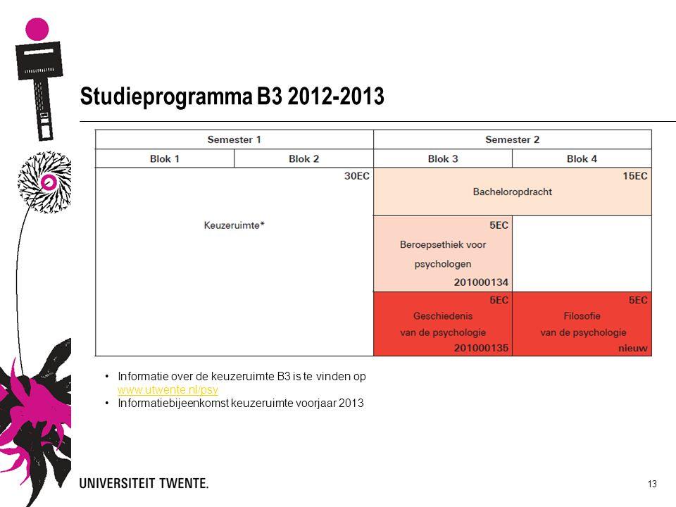 13 Studieprogramma B3 2012-2013 Informatie over de keuzeruimte B3 is te vinden op www.utwente.nl/psy www.utwente.nl/psy Informatiebijeenkomst keuzerui