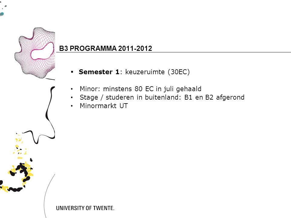 14 B3 PROGRAMMA 2011-2012  Semester 1: keuzeruimte (30EC) Minor: minstens 80 EC in juli gehaald Stage / studeren in buitenland: B1 en B2 afgerond Minormarkt UT