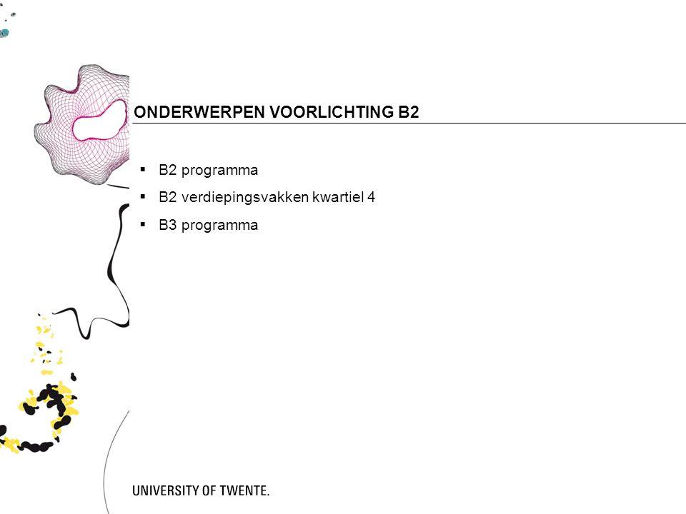 2 ONDERWERPEN VOORLICHTING B2  B2 programma  B2 verdiepingsvakken kwartiel 4  B3 programma