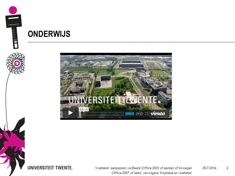 28-7-2014Voettekst: aanpassen via Beeld (Office 2003 of eerder) of Invoegen (Office 2007 of later), vervolgens 'Koptekst en voettekst' 2