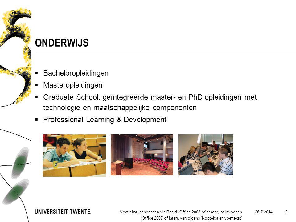 28-7-2014Voettekst: aanpassen via Beeld (Office 2003 of eerder) of Invoegen (Office 2007 of later), vervolgens 'Koptekst en voettekst' 3 ONDERWIJS  B