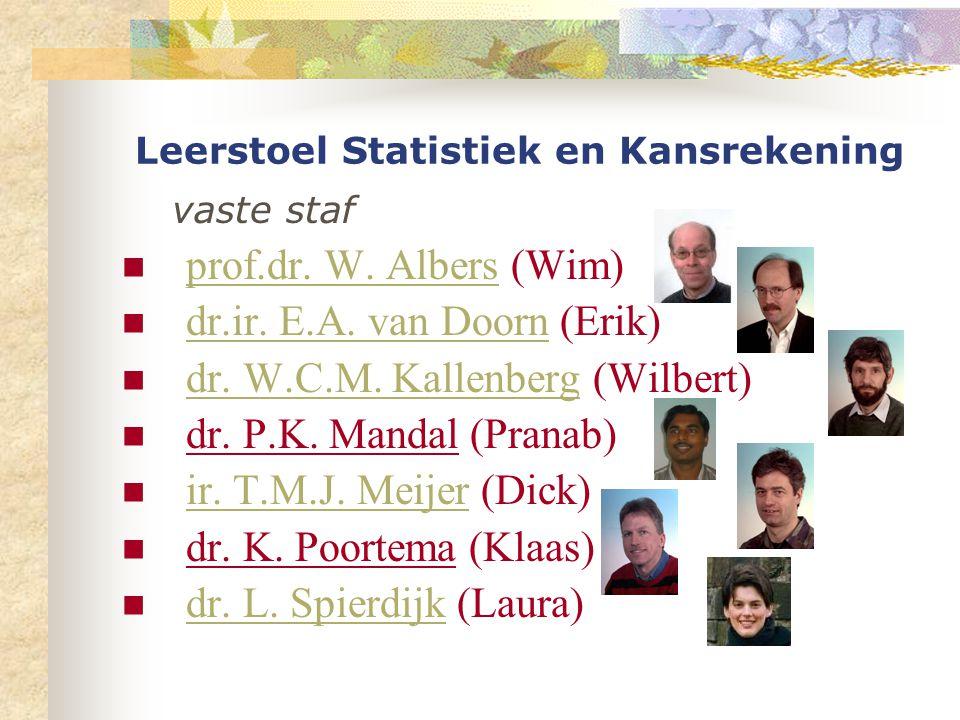 Leerstoel Statistiek en Kansrekening vaste staf prof.dr.