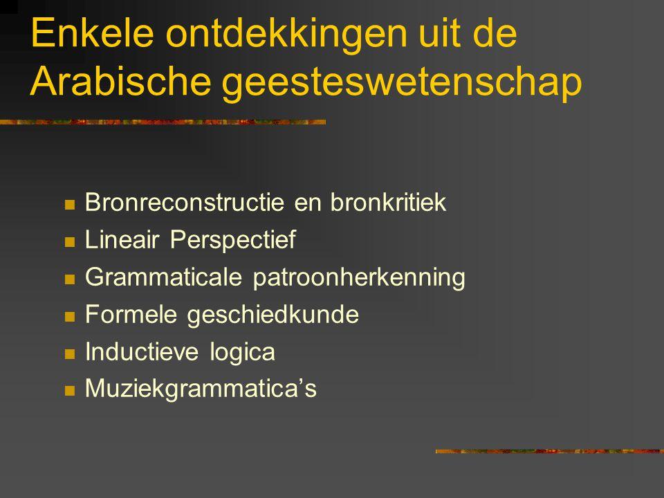 Enkele ontdekkingen uit de Arabische geesteswetenschap Bronreconstructie en bronkritiek Lineair Perspectief Grammaticale patroonherkenning Formele geschiedkunde Inductieve logica Muziekgrammatica's
