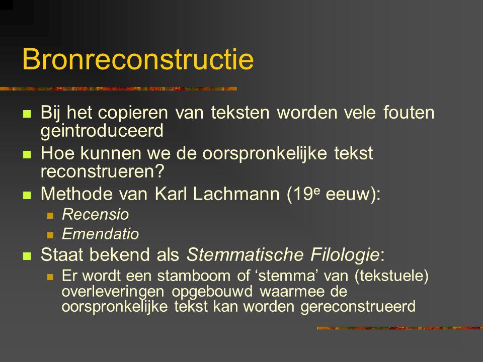 Bronreconstructie Bij het copieren van teksten worden vele fouten geintroduceerd Hoe kunnen we de oorspronkelijke tekst reconstrueren.