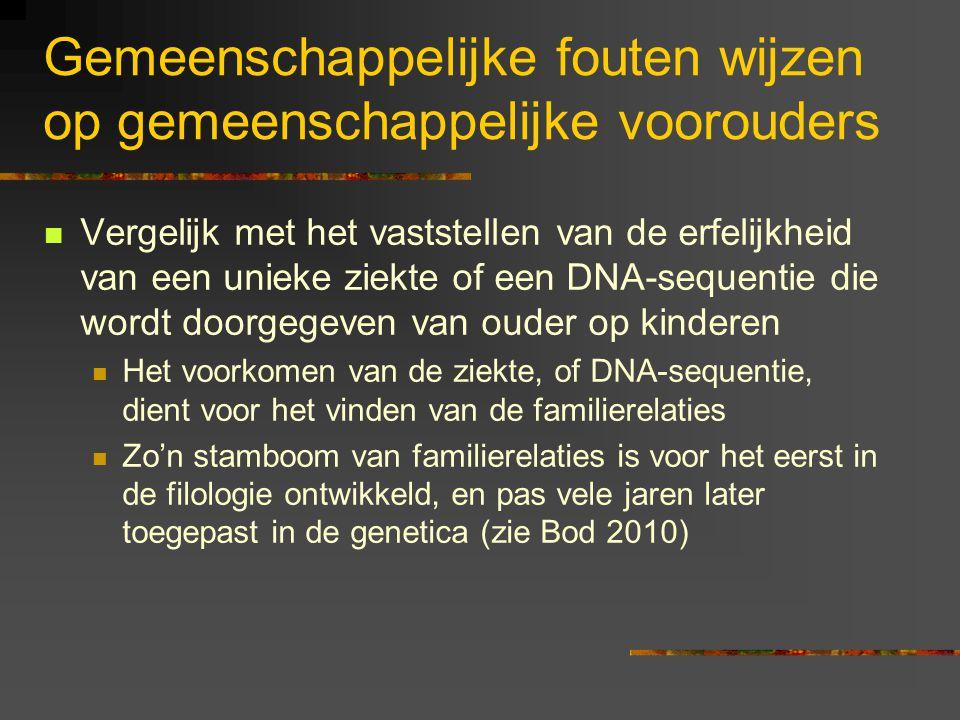 Gemeenschappelijke fouten wijzen op gemeenschappelijke voorouders Vergelijk met het vaststellen van de erfelijkheid van een unieke ziekte of een DNA-sequentie die wordt doorgegeven van ouder op kinderen Het voorkomen van de ziekte, of DNA-sequentie, dient voor het vinden van de familierelaties Zo'n stamboom van familierelaties is voor het eerst in de filologie ontwikkeld, en pas vele jaren later toegepast in de genetica (zie Bod 2010)