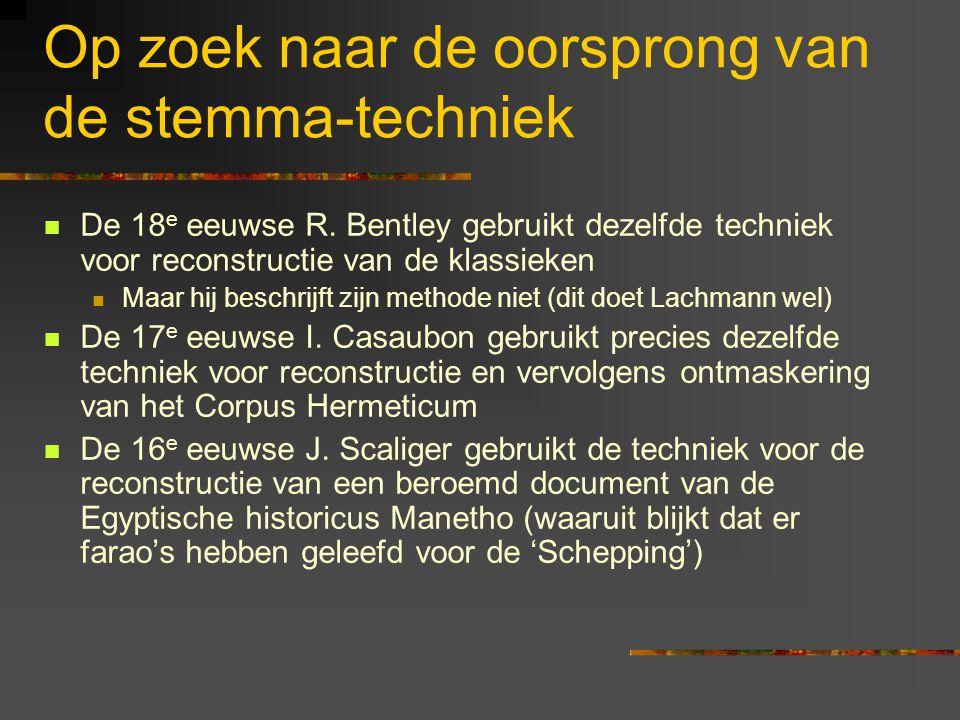 Op zoek naar de oorsprong van de stemma-techniek De 18 e eeuwse R.