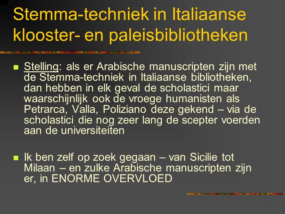 Stemma-techniek in Italiaanse klooster- en paleisbibliotheken Stelling: als er Arabische manuscripten zijn met de Stemma-techniek in Italiaanse bibliotheken, dan hebben in elk geval de scholastici maar waarschijnlijk ook de vroege humanisten als Petrarca, Valla, Poliziano deze gekend – via de scholastici die nog zeer lang de scepter voerden aan de universiteiten Ik ben zelf op zoek gegaan – van Sicilie tot Milaan – en zulke Arabische manuscripten zijn er, in ENORME OVERVLOED