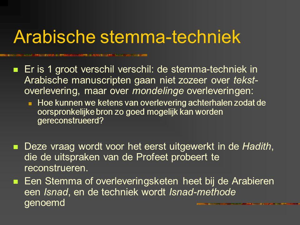 Arabische stemma-techniek Er is 1 groot verschil verschil: de stemma-techniek in Arabische manuscripten gaan niet zozeer over tekst- overlevering, maar over mondelinge overleveringen: Hoe kunnen we ketens van overlevering achterhalen zodat de oorspronkelijke bron zo goed mogelijk kan worden gereconstrueerd.