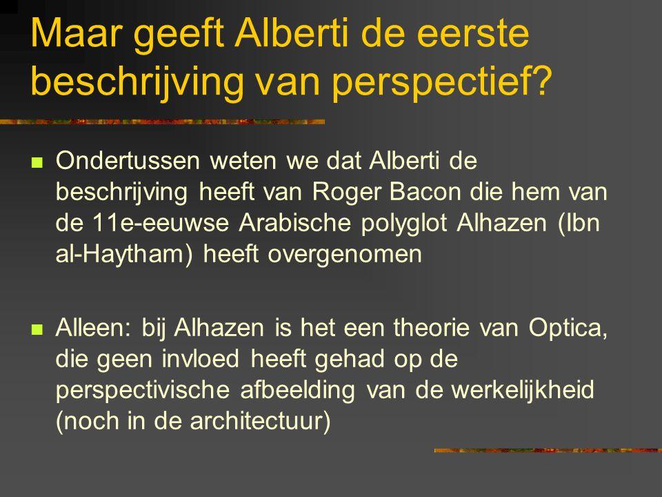 Maar geeft Alberti de eerste beschrijving van perspectief.