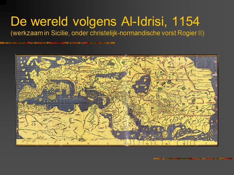 De wereld volgens Al-Idrisi, 1154 (werkzaam in Sicilie, onder christelijk-normandische vorst Rogier II)