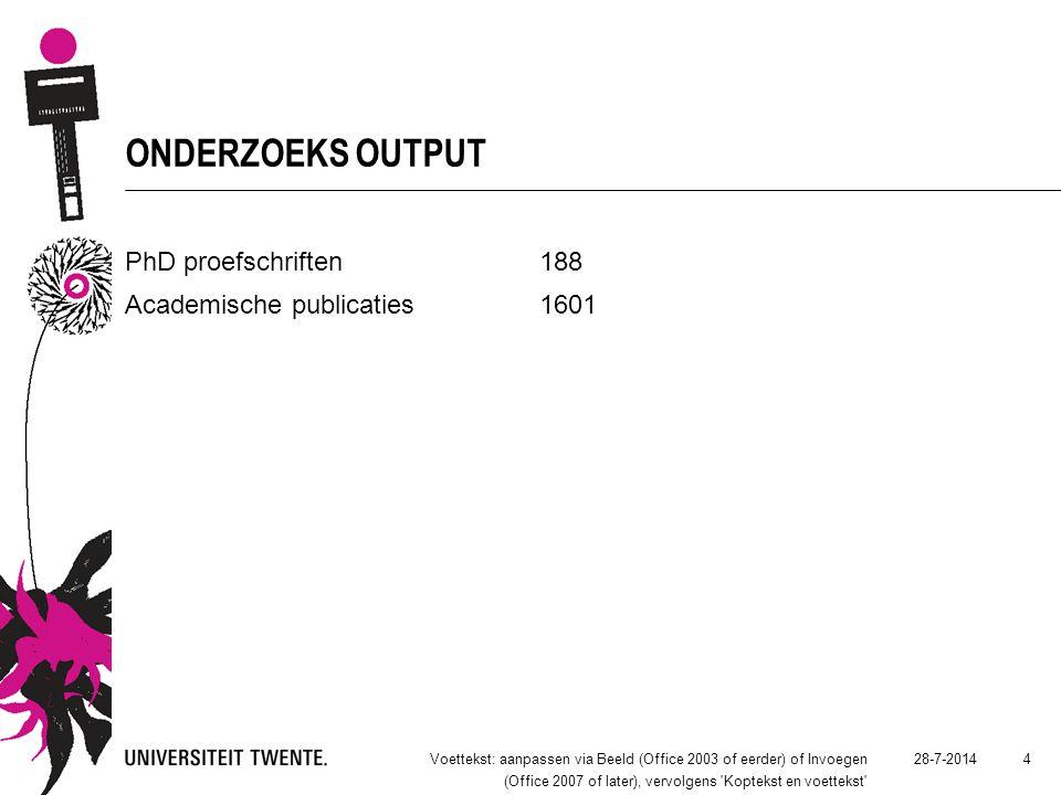 ONDERZOEKS OUTPUT PhD proefschriften188 Academische publicaties1601 28-7-2014Voettekst: aanpassen via Beeld (Office 2003 of eerder) of Invoegen (Offic