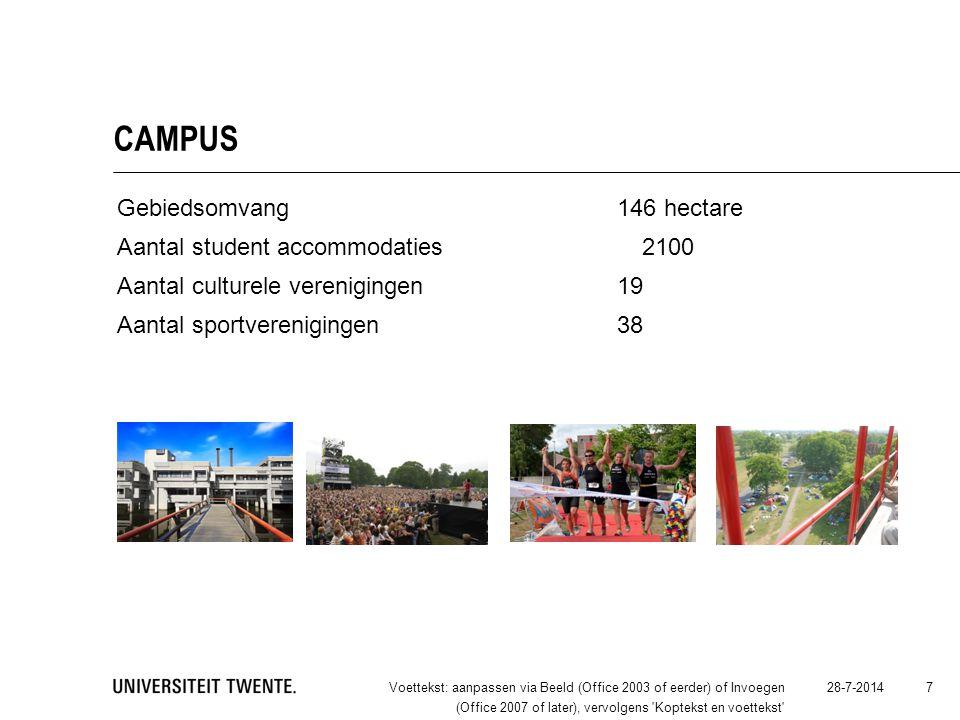 CAMPUS Gebiedsomvang 146 hectare Aantal student accommodaties2100 Aantal culturele verenigingen19 Aantal sportverenigingen38 28-7-2014Voettekst: aanpa
