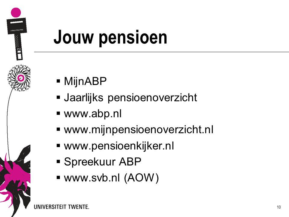 10 Jouw pensioen  MijnABP  Jaarlijks pensioenoverzicht  www.abp.nl  www.mijnpensioenoverzicht.nl  www.pensioenkijker.nl  Spreekuur ABP  www.svb.nl (AOW)
