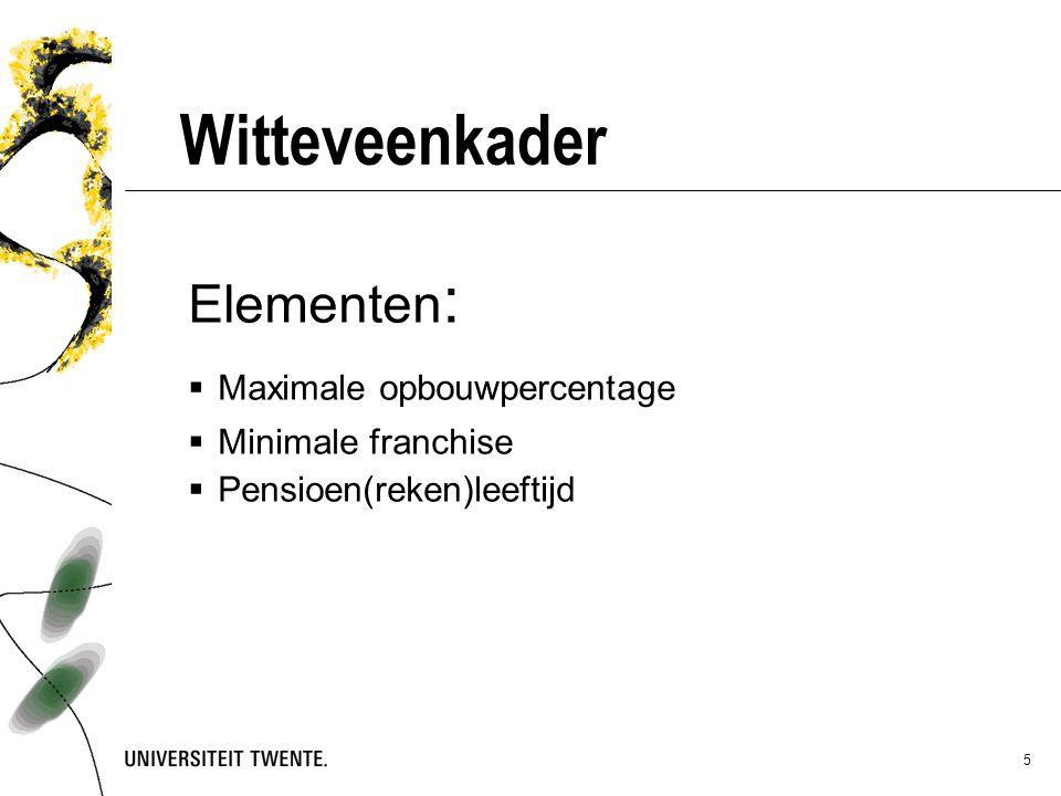*)gebaseerd op pensioenakkoord 6 Wijziging Witteveenkader 20132014 2015  wetABPwetABPwetABP Opbouw (%)2,252,052,151,951,8751,85 Franchise (€)13.22710.95013.44911.15013.44911.150 Pensioenleeftijd65 67 Aftopping (€)----------- -----------------------100.000