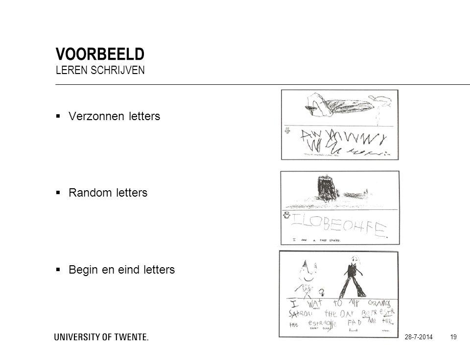  Verzonnen letters  Random letters  Begin en eind letters 28-7-2014 19 VOORBEELD LEREN SCHRIJVEN