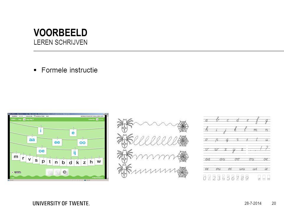  Formele instructie 28-7-2014 20 VOORBEELD LEREN SCHRIJVEN