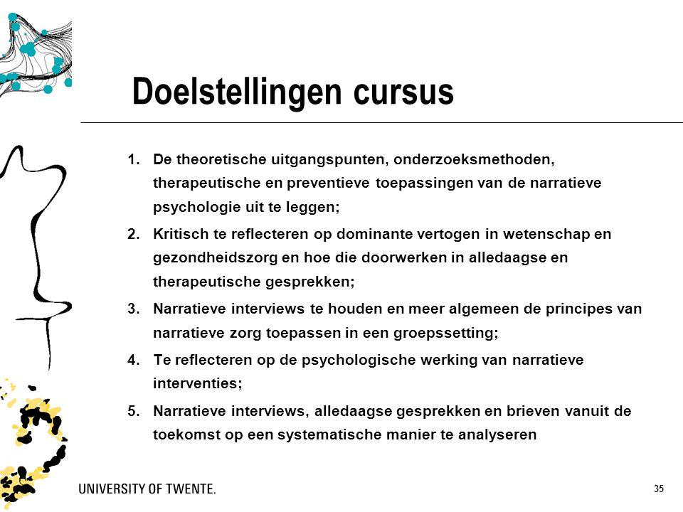 35 Doelstellingen cursus 1.De theoretische uitgangspunten, onderzoeksmethoden, therapeutische en preventieve toepassingen van de narratieve psychologi