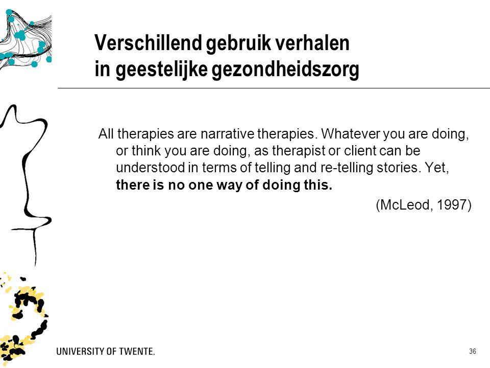 36 Verschillend gebruik verhalen in geestelijke gezondheidszorg All therapies are narrative therapies. Whatever you are doing, or think you are doing,