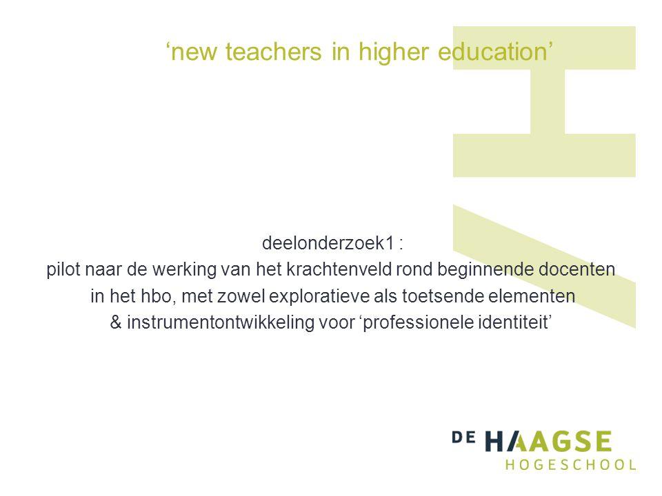 'new teachers in higher education' deelonderzoek1 : pilot naar de werking van het krachtenveld rond beginnende docenten in het hbo, met zowel exploratieve als toetsende elementen & instrumentontwikkeling voor 'professionele identiteit'
