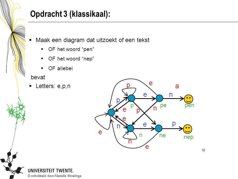 """© ontwikkeld door Marielle Stoelinga 16 Opdracht 3 (klassikaal):  Maak een diagram dat uitzoekt of een tekst  OF het woord """"pen""""  OF het woord """"nep"""