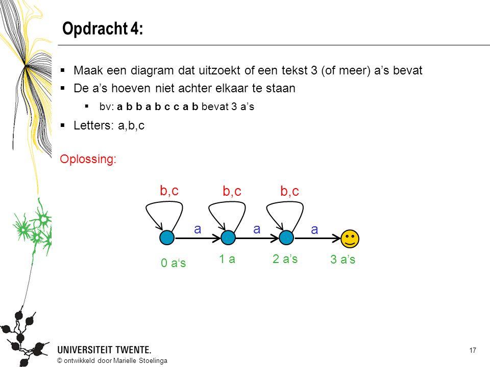 © ontwikkeld door Marielle Stoelinga 17 Opdracht 4:  Maak een diagram dat uitzoekt of een tekst 3 (of meer) a's bevat  De a's hoeven niet achter elk
